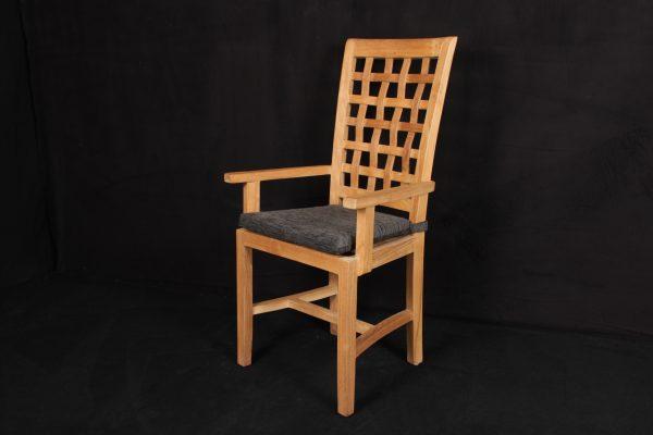 "Teakholz-Stuhl ""Seba"" mit Armlehne mit Sitzpolster ""grau-braun"""