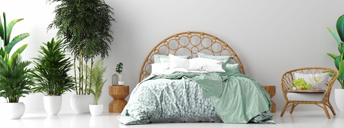 Tropical Schlafzimmer mit Rattanbett