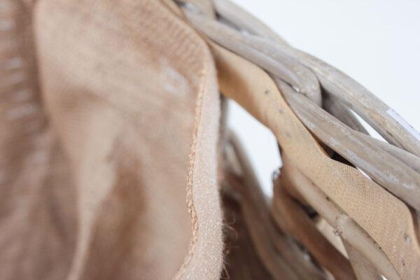 Rattan-Kaminholzkorb auf Rollen, Klettverschluss
