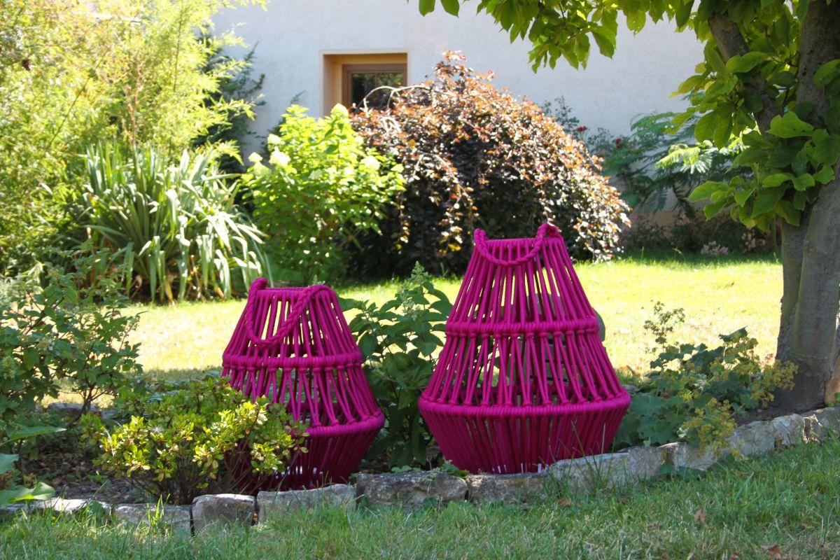 Boho-Laterne aus geflochtenem Stoff, pink