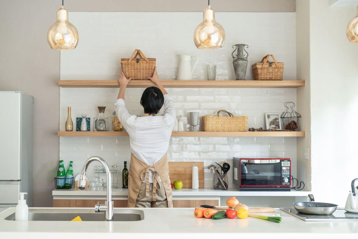 Flechtkörbe in der Küche