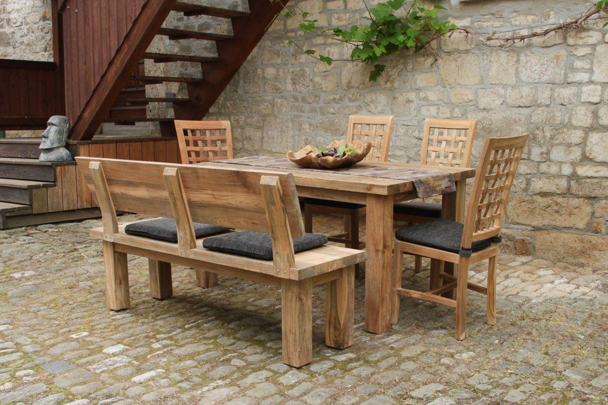 Teakholz-Sitzgruppe mit Bank und Stühlen