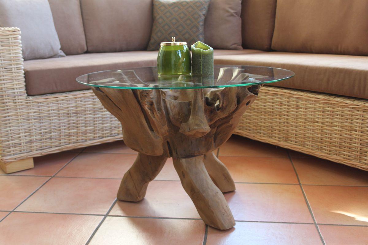 Wurzelholztisch mit Glasplatte